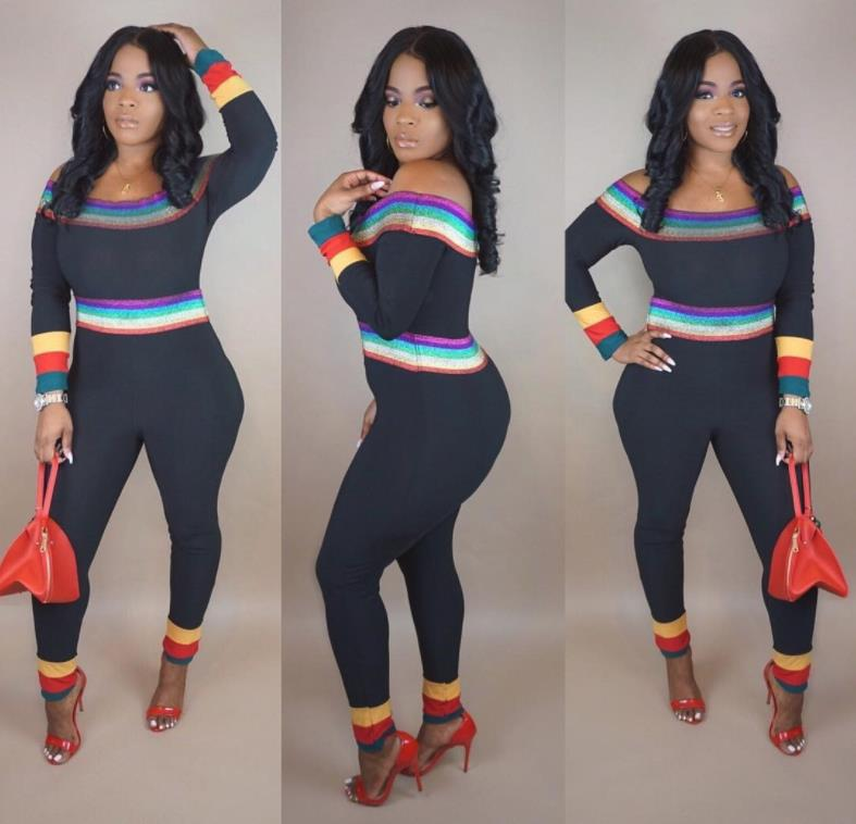 69ff437b6079 Charming Rainbow Striped Long Sleeve Jumpsuit